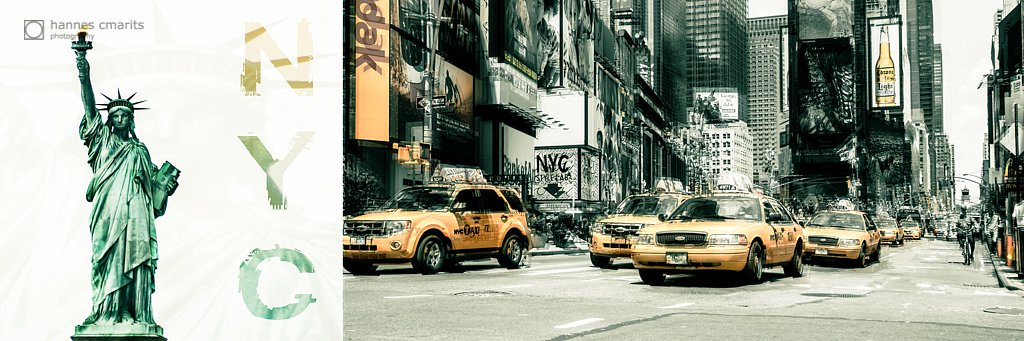 NYC - Lady Liberty and Yellow Cabs